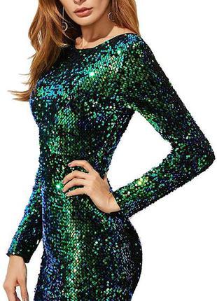 H&m платье в стразах в пайетках зеленое вечернее нарядное праз...