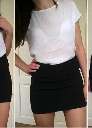 Черная бандажная мини юбка с молнией oogji