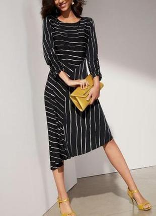 Шикарное стильное платье миди в полоску