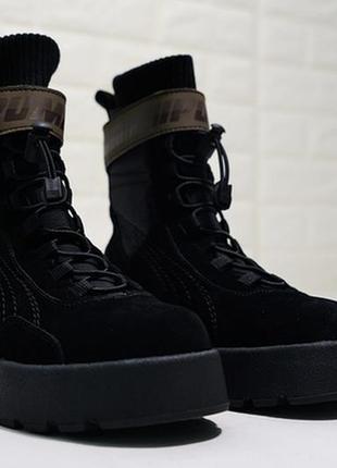 Женские замшевые ботинки puma x fenty scuba boot black.