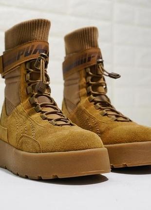 Женские замшевые ботинки fenty x puma scuba boot brown.