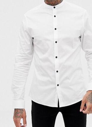Мужская белая рубашка с воротником стойка { сорочка без воротн...