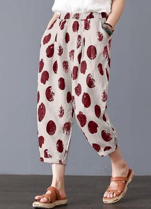 Широкие легкие брюки в горошек хлопок zanzea