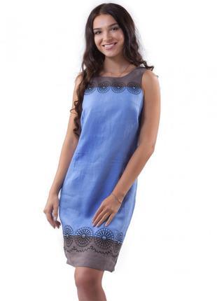 Женское платье лен с красивой вышитой отделкой