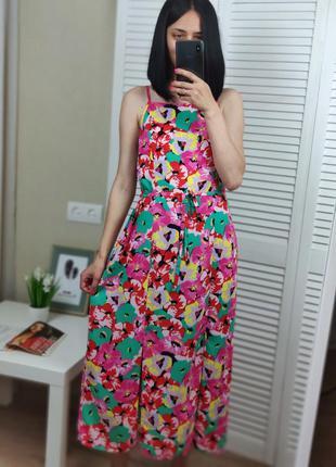 Яркое платье в пол в цветы uk 14/xl primark