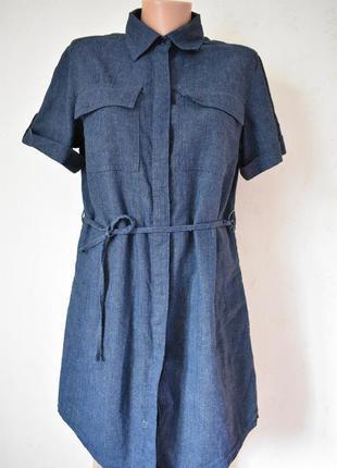 Льняное платье-рубашка next