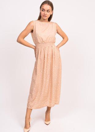 Длинное летнее платье кофейный