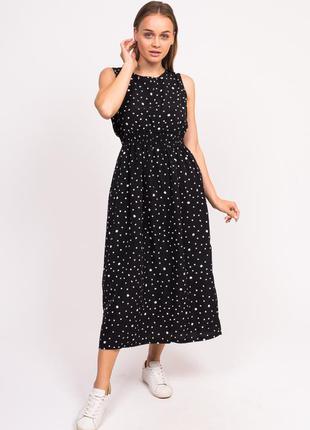 Длинное летнее платье черный