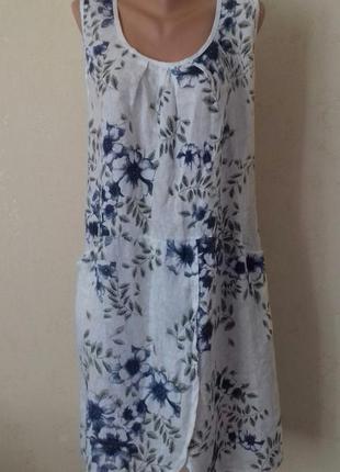 Льняное итальянское платье с принтом