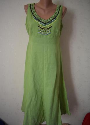 Льняное платье с украшением per una