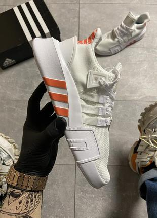 Белые мужские кроссовки adidas eqt support bask adv white orange.