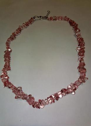 Бусы из камней розового турмалина