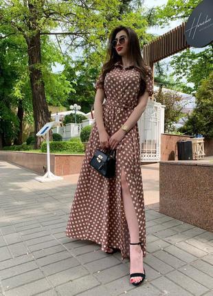 Платье длины миди в горошек размер универсальный