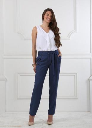 Летние  зауженные брюки,высокая талия с защипами от бренда c&a