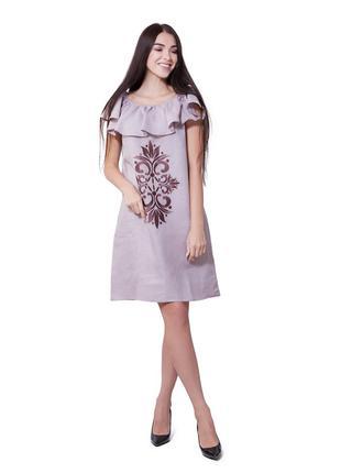 Летнее легкое женское платье Лен с вышивкой Вышиванка