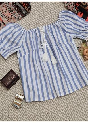 Блуза в полоску parisian collection/короткая летняя блуза