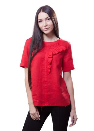Женская летняя блузка с рюшей Лен