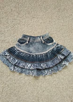 Юбка джинс девочке размер 104-110