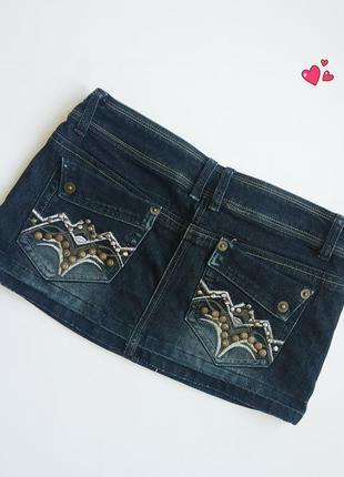 Юбка джинсовая с фурнитурой, молодежная одежда