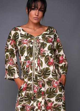 Распродажа! летнее платье свободного кроя большие размеры