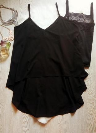 Черная асимметричная майка блуза шифон на бретелях длинная сза...