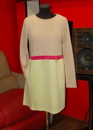 Продам фирменное платье-трапеция с рукавами, новое