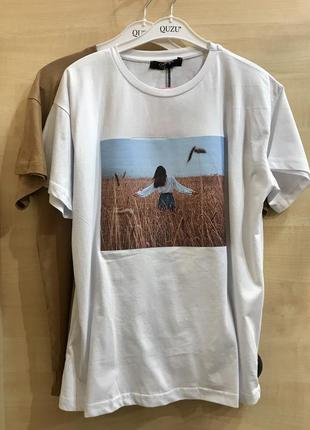 Стильна футболка вільного крою з картинкою, турція