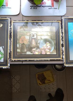 Набор три красивые картины металлография под стеклом