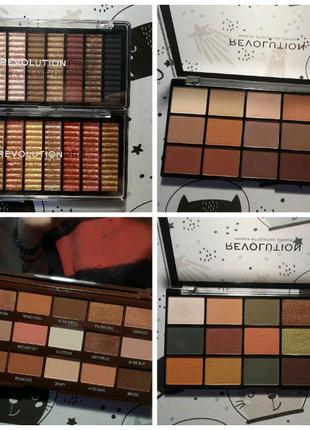 5 палеток теней Makeup Revolution и Revolution PRO. +Свотчи