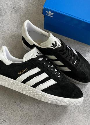 Adidas gazelle black женские стильные кроссовки