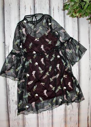Платье сетка с вышивкой primark p. s-m