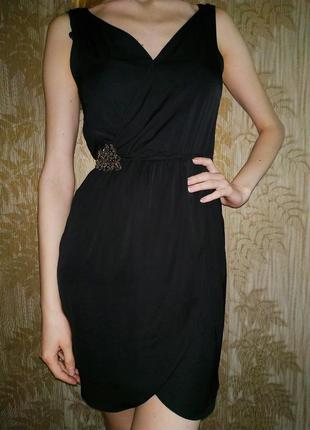 Zara сарафан с брошью, декорацией, нарядное чёрное платье на т...