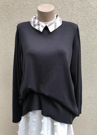 Чёрная,трикотаж кофта,свитер,джемпер с белым воротником,большо...