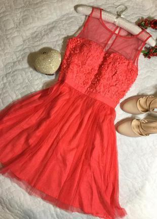Платье вечернее фатин цветы redherring размер 12