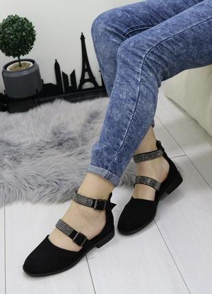 Новые шикарные женские черные босоножки сандали