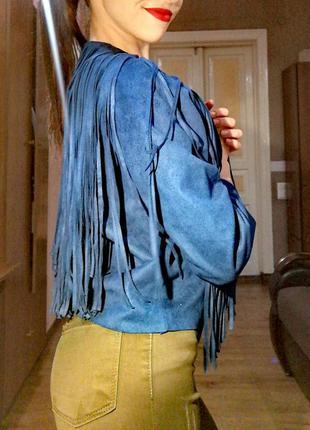 Куртка косуха под замш с бахромой новая amisu стильная накидка