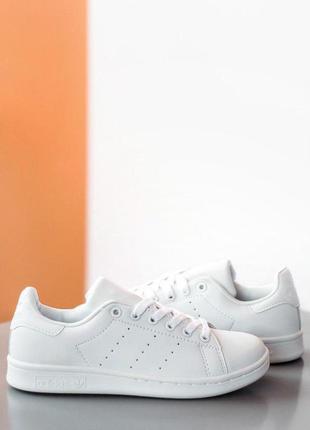 Adidas stan smith white белые женские кроссовки наложенный пла...