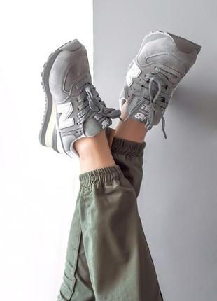 New balance 574 grey серые женские кроссовки наложенный платёж...