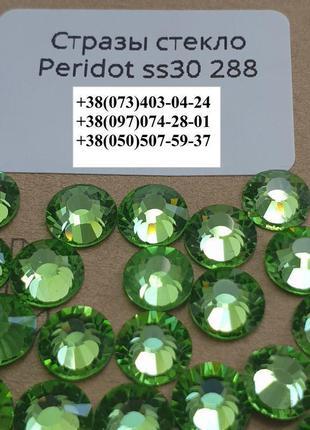 Стразы стекло Peridot Перидот (Салатовый) премиум для декора