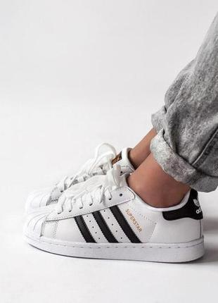 Adidas superstar white белые с чёрным женские кроссовки наложе...