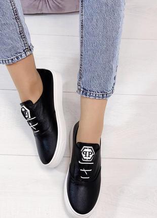 Новые женские кожаные черные кроссовки кеды