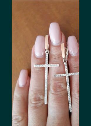 Сережки крестики серебро+золото