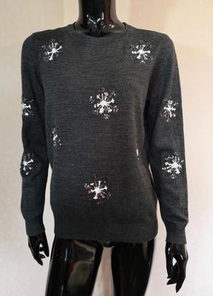 Новогодний свитер джемпер с пайетками dorothy perkins