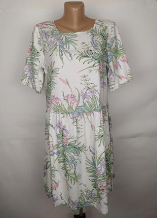 Платье хлопковое красивое в тропический принт marks&spencner u...