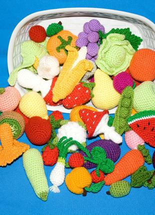 Вязаные фрукты, овощи и продукты