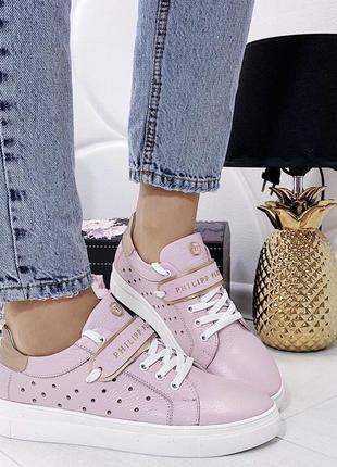 Новые женские кожаные розовые кроссовки
