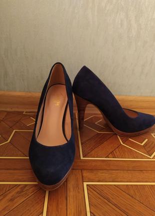 Туфли на каблуке темно синий из экозамша