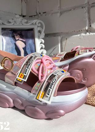 Босоножки off на платформе, сандали розовые перламутровые
