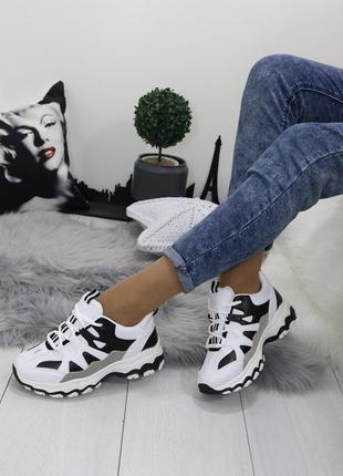 Новые женские черно-белые кроссовки