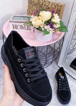 Новые женские черные замшевые кроссовки